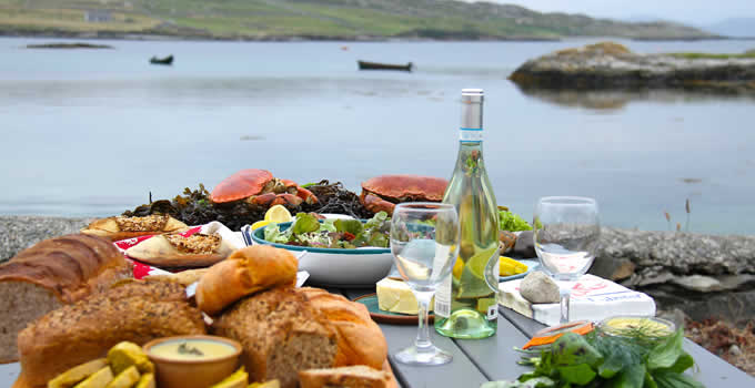 Fresh seafood and local produce, Inishbofin Island, Co. Galway.
